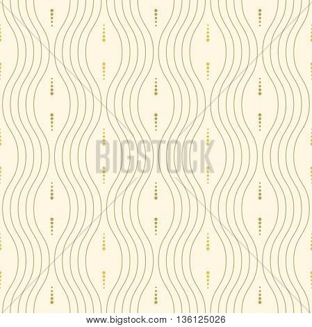 Seamless ornament. Modern geometric pattern with repeating wavy golden lines