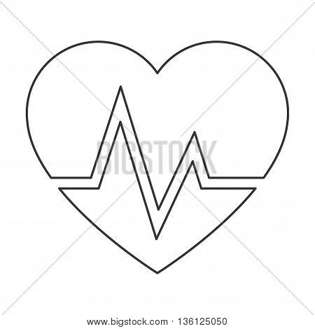 simple black line heart and cardiogram icon vector illustration