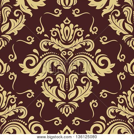 Seamless oriental ornament in the style of baroque. Traditional classic pattern