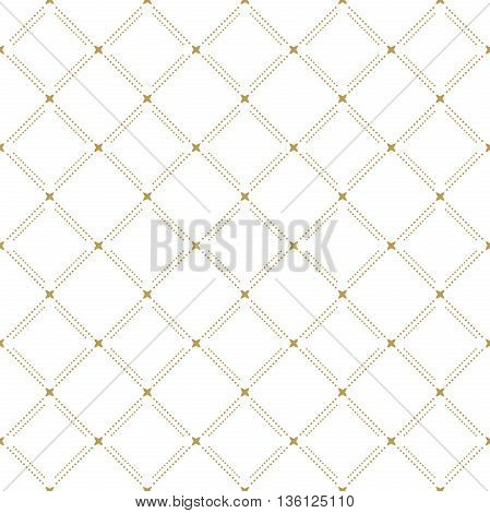 Geometric repeating ornament with diagonal dotted lines. Seamless abstract modern golden pattern