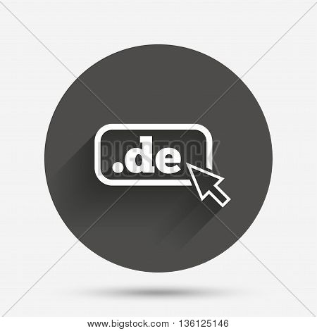 Domain DE sign icon. Top-level internet domain symbol with cursor pointer. Circle flat button with shadow. Vector