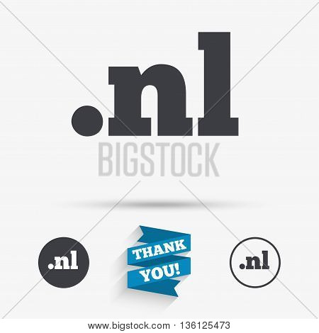 Domain NL sign icon. Top-level internet domain symbol. Flat icons. Buttons with icons. Thank you ribbon. Vector