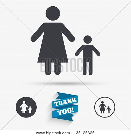 One-parent family with one child sign icon. Mother with son symbol. Flat icons. Buttons with icons. Thank you ribbon. Vector
