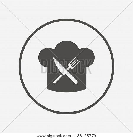Chef hat sign icon. Cooking symbol. Flat restaurant icon. Simple design restaurant symbol. Restaurant graphic element. Round button with flat restaurant icon. Vector