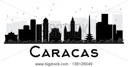Caracas City skyline black and white silhouette. Simple flat concept for tourism presentation, banner, placard or web site. Cityscape with landmarks