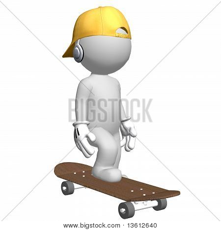 3D Character With Baseball Cap On Skateboard