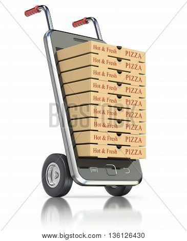 Pizza packages in mobile phone on white background - 3D illustration