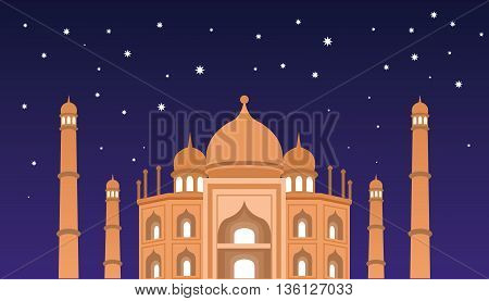 Happy Eid mubarak greetings and celebrate concept vector mosque at night