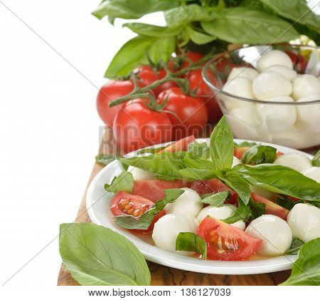 Italian caprese salad on a white background