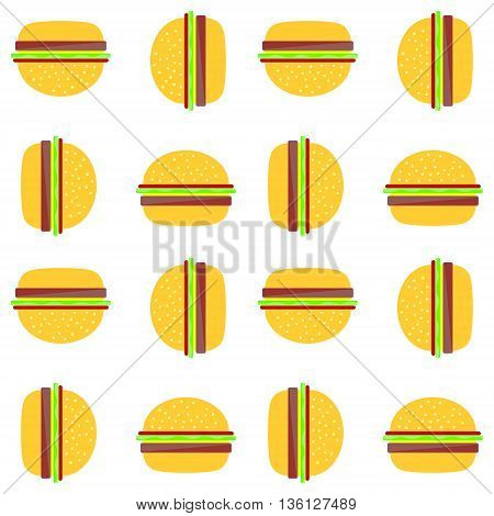 Vector seamless background. Background with hamburger. Food background