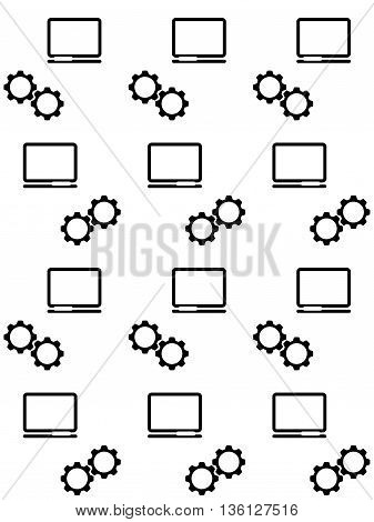 Vector seamless background. Background with computer icon