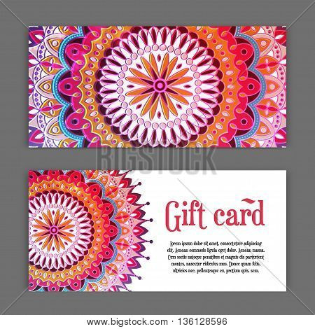 set templates of gift cards with color ornament mandala for print or website. vector illustration. Gift card design. Vector national design. Card template for print.