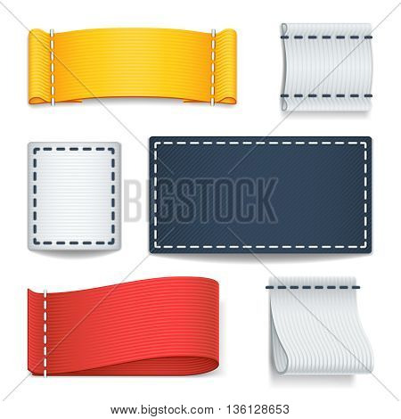 Realistic color blank fabric labels, badges with stitching vector set. Label fabric with stitch, illustration tag fabric for clothes