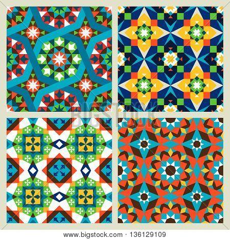 Moroccan mosaic vector or modern arabic seamless patterns