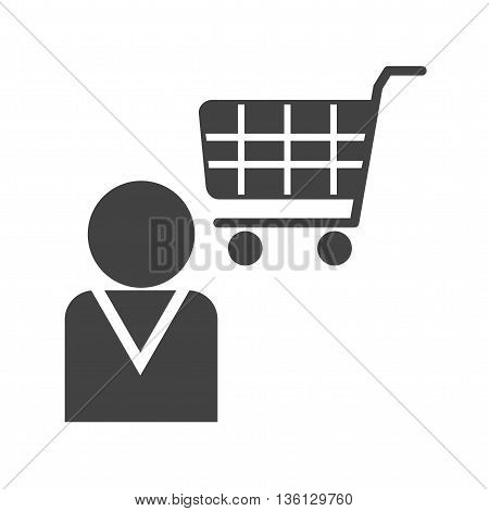 Shop, store, assistant icon vector image. Can also be used for shopping. Suitable for use on web apps, mobile apps and print media.
