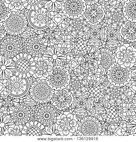 Beautiful kaleidoscope full frame background composed of ornate floral elements and other pretty patterns
