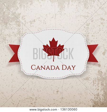 Canada Day Emblem with Ribbon. Vector Illustration