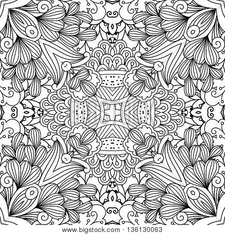 Full frame decorative background without color and having various floral elements against a white background