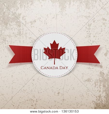 Canada Day greeting red Emblem. Vector Illustration