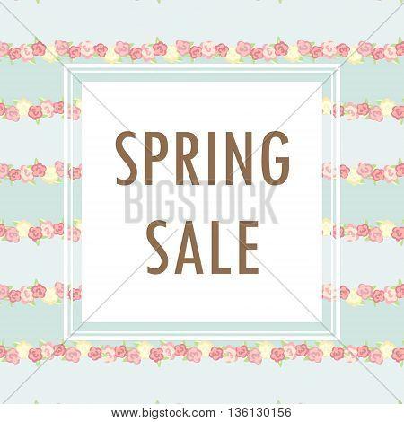 Spring Sale Banner poster design. Vector illustration. Sale template.
