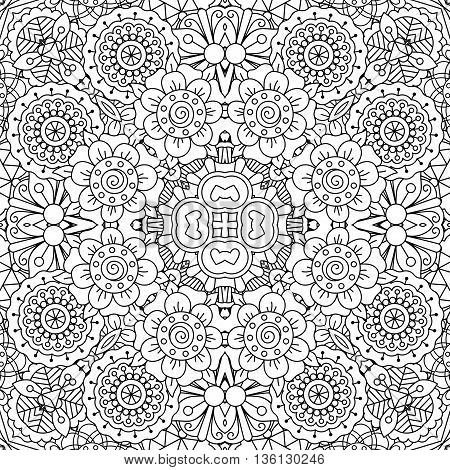 Full frame kaleidoscope background of patterns composed with geometric designs against white and having floral elements