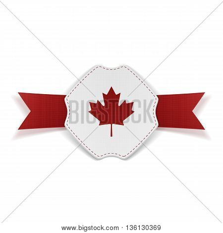 Canada red Maple Leaf on realistic Banner. Vector Illustration