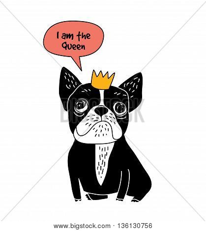 Dog French bulldog queen fun symbol and sign isolate on white. Color vector illustration. EPS8
