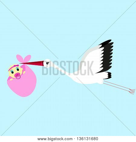 cartoon vector illustration of a stork delivering a newborn baby girl on a blue background