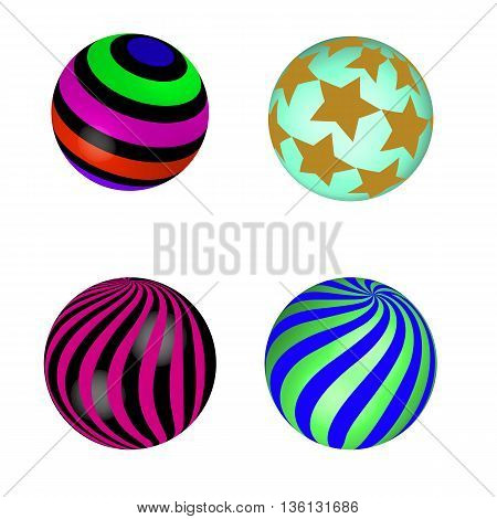 colorful abstract globes with different inner spherical patterns on a white background