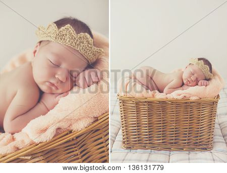 Collage of two photos-a Sleeping newborn baby in a basket:baby on a pink blanket in a knitted crown light brown,legs tucked under him,asleep high in a wicker basket on grey background