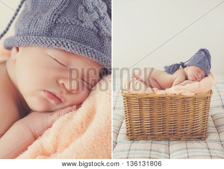 Collage of two photos-a Sleeping newborn baby in a knitted hat:baby on a pink blanket in knitted cap grey,legs tucked under him,asleep high in a wicker basket on grey background