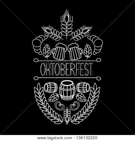 Oktoberfest traditional food and attributes on craft. vector hand drawn label elements. barrel, mug, wheat, hop plant,  croissant, bottle, leaf, bagel, pretzel.