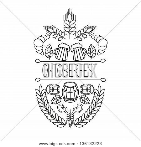 Oktoberfest traditional food and attributes on craft. vector hand drawn label elements. barrel, mug, wheat, hop plant,  croissant, bottle, leaf, bagel, pretzel.