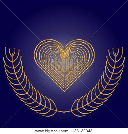 Frame in the shape of a heart  on dark blue background with golden branches.  Valentines day card template