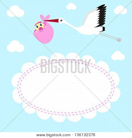 Greeting card Stork delivers baby girl on a background of clouds and sky