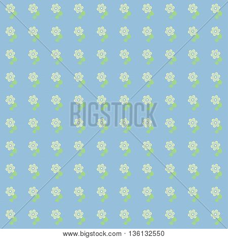Vintage floral pattern. Cute flowers on a blue background.