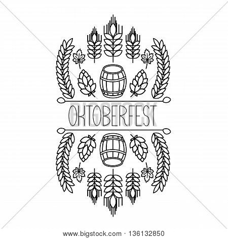 Oktoberfest traditional food and attributes on craft. Beer, craft brew house sketch doodle collection, vector hand drawn label elements. barrel, mug,