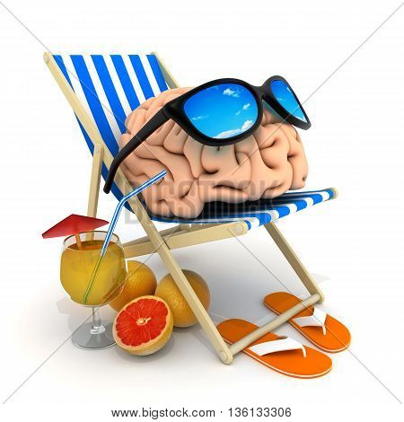 Beach bed and brain (done in 3d rendering)