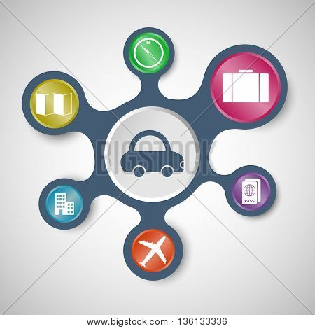 Travel infographic templates with connected metaballs, stock vector