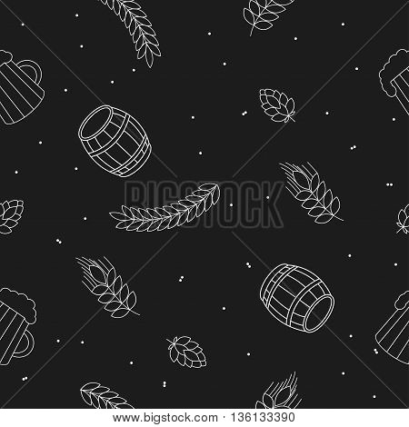 Seamless pattern of random beers, ears, hop, pretzels against a black background. For packaging beer, bread and flour products in your cafe, bar, pub, tavern, brewery, restaurant.