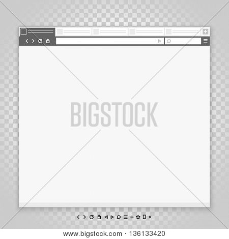 Opened browser window template and different pictograms set. Past your content into it. vector empty browser mockup