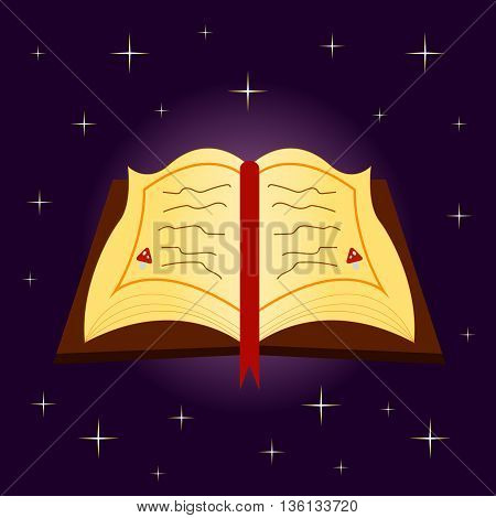 spellbook on Halloween on a purple background with stars