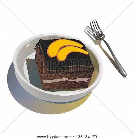 Illustration chocolate biscuit dessert, decorated with slices of mango, served in a white cup and stainless fork
