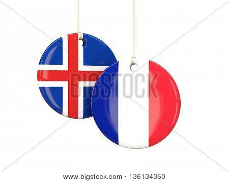 France And Iceland Soccer Teams Round Labes