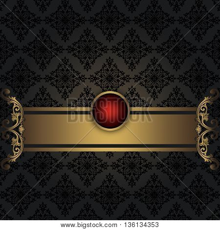 Vintage background with old-fashioned patterns and gold decorative border.
