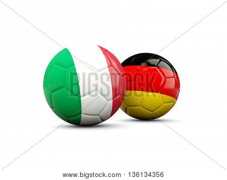 Germany And Italy Soccer Balls Isolated On White