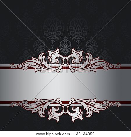 Vintage background with decorative old-fashioned ornament and elegant silver border.