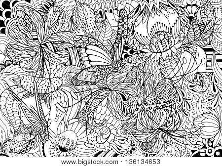 Black and white abstraction with flowers and butterflies. Page coloring.