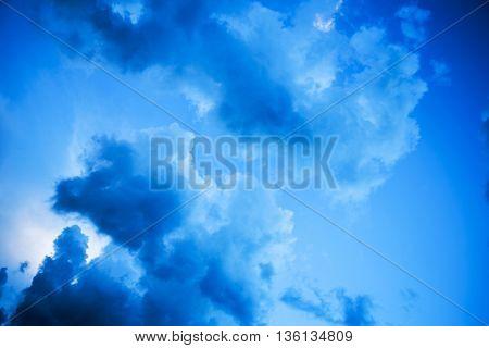 Cumulus storm clouds at dusk