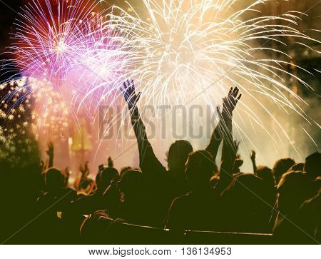 cheering crowd and fireworks